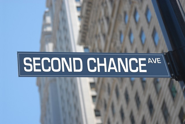 Second chance Avenue road sign in the city