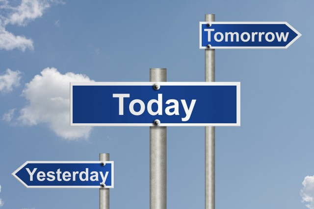An American road sign with sky background and Yesterday Today and Tomorrow signs Only today counts