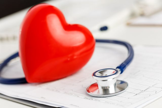 Medical stethoscope and red toy heart lying on cardiogram chart closeup. Medical help prophylaxis disease prevention or insurance concept. Cardiology carehealth protection and prevention